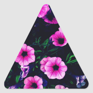 Purple pink flowers triangle sticker