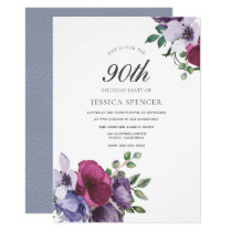 Purple Pink Flowers Watercolor 90th Birthday Party Card