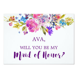 Purple & Pink Flowers Will You Be My Maid of Honor Card