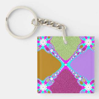 Purple Pink Fractal Keychain
