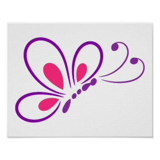PURPLE PINK FREE BUTTERFLY CARTOON GRAPHICS FREEDO POSTER