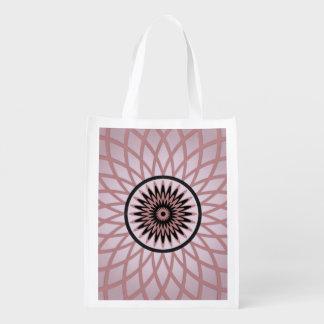 Purple Pink Geometric Flower Grocery Bag