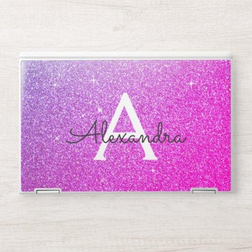 Purple Pink Glam Glitter Sparkle Monogram HP Laptop Skin
