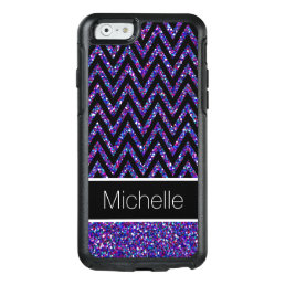 Purple Pink Glitter Black Chevron iPhone 6 Case