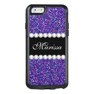 Purple Pink Glitter Black OtterBox iPhone 6 Case