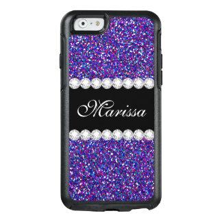 Purple Pink Glitter Black OtterBox iPhone 6 Case