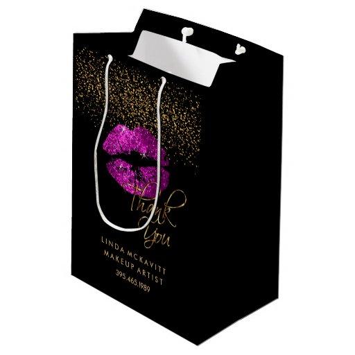 Purple Pink Glitter Lipstick - Thank You Medium Gift Bag