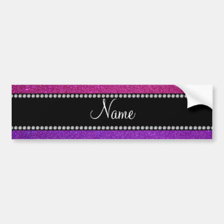 Purple pink glitter personalized name bumper sticker
