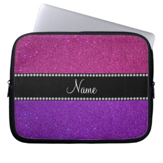 Purple pink glitter personalized name laptop sleeve