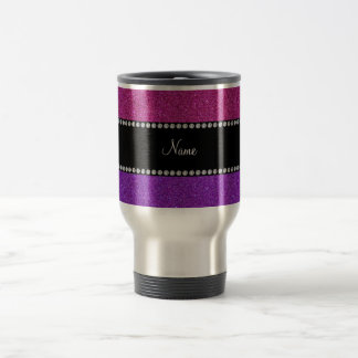 Purple pink glitter personalized name travel mug