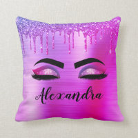 Purple Pink Glitter Sparkle Eyelashes Monogram Throw Pillow
