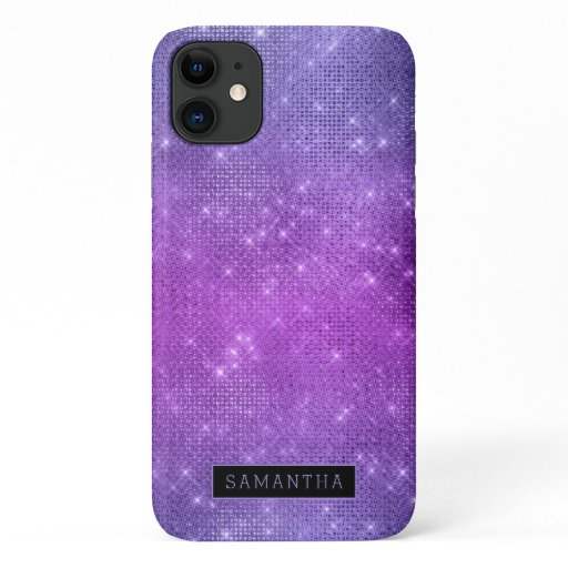 Purple Pink Glitter Sparkle Mermaid Monogram iPhone 11 Case