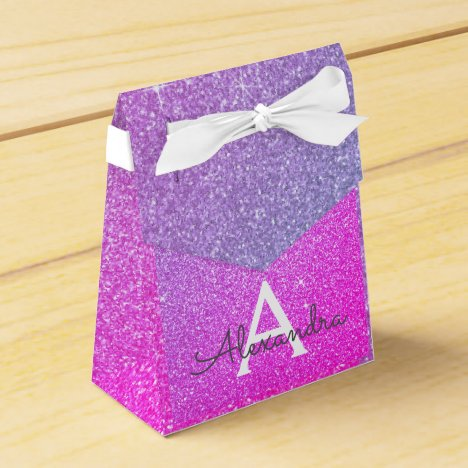 Purple Pink Glitter & Sparkle Monogram Favor Box
