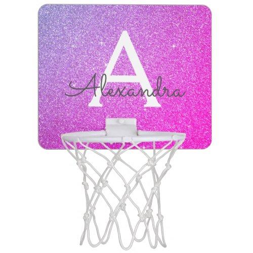 Purple Pink Glitter & Sparkle Monogram Name Mini Basketball Hoop