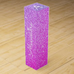 """Purple Pink Glitter & Sparkle Monogram Wine Box<br><div class=""""desc"""">Purple and Pink Ombre Faux Glitter and Sparkle Elegant Wine Gift Box. This Wine Gift Box can be customized to include your initial and first name and makes a great birthday party,  anniversary,  bachelorette party,  bridal shower gift.</div>"""
