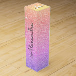"Purple Pink Glitter & Sparkle Monogram Wine Box<br><div class=""desc"">Gold,  Purple and Pink Rainbow Pastel Ombre Faux Glitter and Sparkle Elegant Wine Gift Box. This Wine Gift Box can be customized to include your initial and first name and makes a great birthday party,  anniversary,  bachelorette party,  bridal shower gift.</div>"