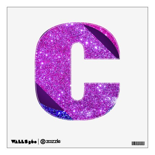 Purple pink glitter sparkle wall decal letter abcs zazzle for Pink glitter letters