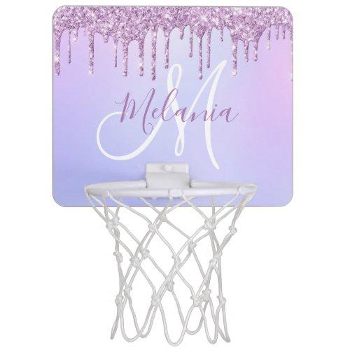 Purple Pink Glitter Sparkles personalized Girly Mini Basketball Hoop