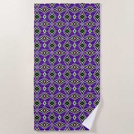 Purple pink green aztec tribal diamond pattern beach towel