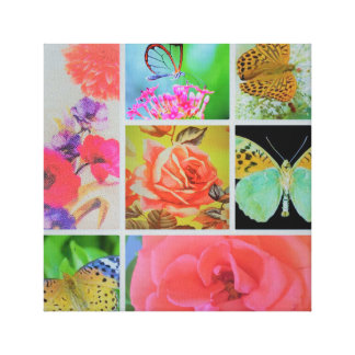 PURPLE,PINK, GREEN . BEAUTIFUL BUTTERFLY AND FLOWE CANVAS PRINT