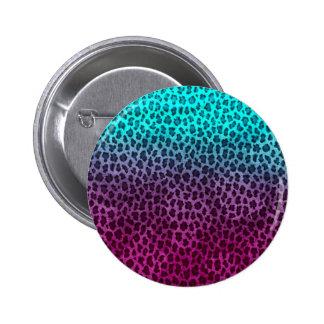 Purple Pink Green Cheetah Print 2 Inch Round Button