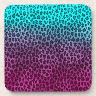 Purple Pink Green Cheetah Print Beverage Coasters