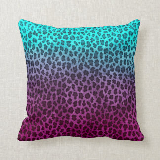Purple Pink Green Cheetah Print Pillow