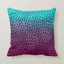 Purple Pink Green Cheetah Print Throw Pillow
