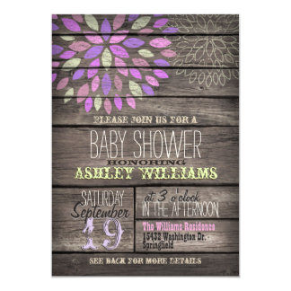 Purple, Pink, Green Flower Rustic Wood Baby Shower Card