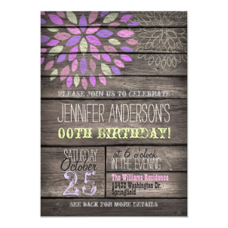 Purple, Pink, Green Flower Rustic Wood Birthday Card