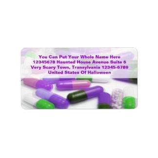 Purple Pink Green Pills Medical Drugs Label