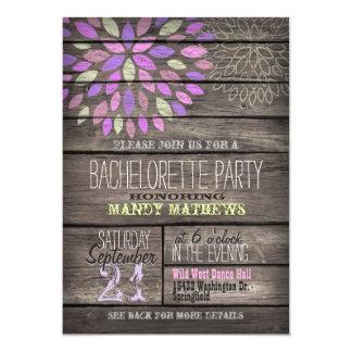 Purple, Pink, Green; Rustic Bachelorette Party 5x7 Paper Invitation Card