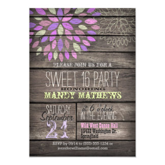 Purple, Pink, Green; Rustic Wood Sweet 16 Party Card