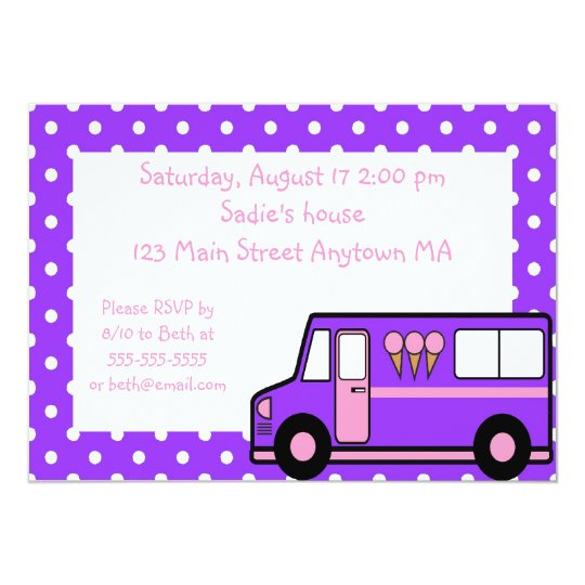Purple Pink Ice Cream Party Birthday Invitation