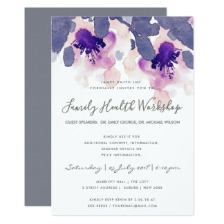 PURPLE PINK INK WATERCOLOR FLORAL WORKSHOP EVENT CARD