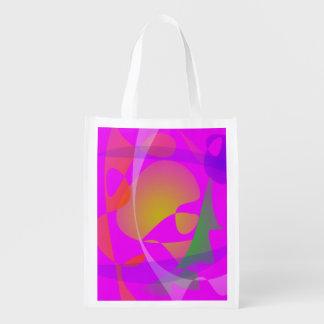 Purple Pink Irregular Forms Grocery Bag