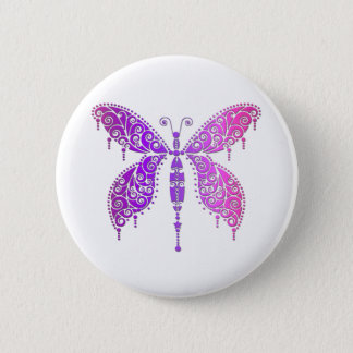 Purple Pink Lace Butterfly Button