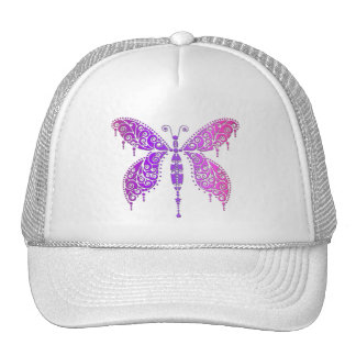 Purple Pink Lace Butterfly Mesh Hat