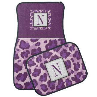 Purple, pink leopard pattern, monogram car mat