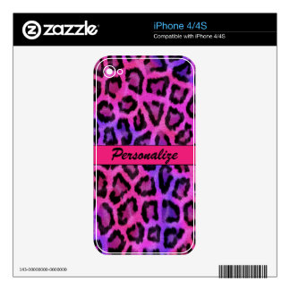 """Purple & Pink Leopard Print"" Decal For iPhone 4"