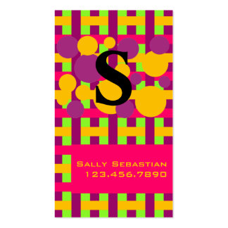 Purple Pink & Lime Plaid & Dots Double-Sided Standard Business Cards (Pack Of 100)