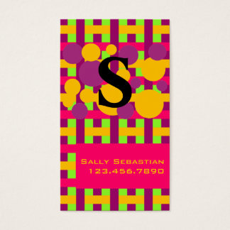 Purple Pink & Lime Plaid & Dots Business Card