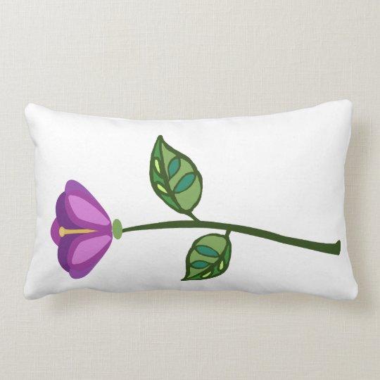 purple pink long stem flower lumbar pillow