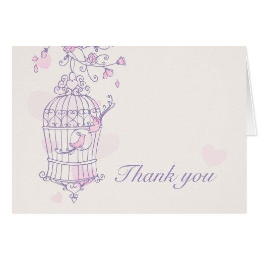 Purple & pink love birds wedding thank you card