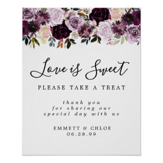 Purple Pink Love is Sweet Wedding Dessert Bar Sign