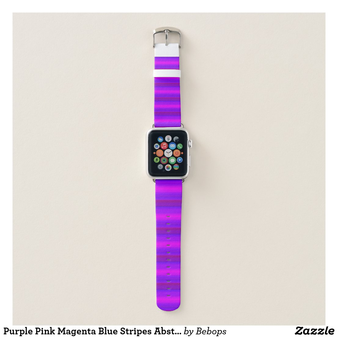 Purple Pink Magenta Blue Stripes Abstract Pattern Apple Watch Band