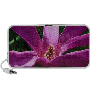 Purple Pink Magnolia Blossom with Painted Effect iPod Speakers