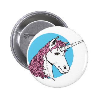 purple/pink mane unicorn head pinback button