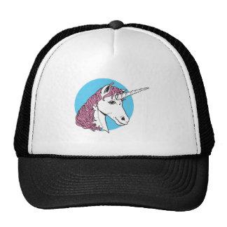 purple/pink mane unicorn head trucker hat