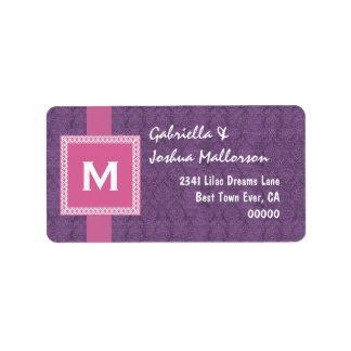 Purple Pink Monogram Square Frame and Ribbon M510 Label